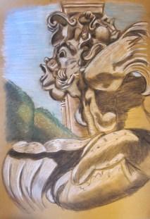 """""""Boboli Gardens,"""" Conte Crayons, 2011"""